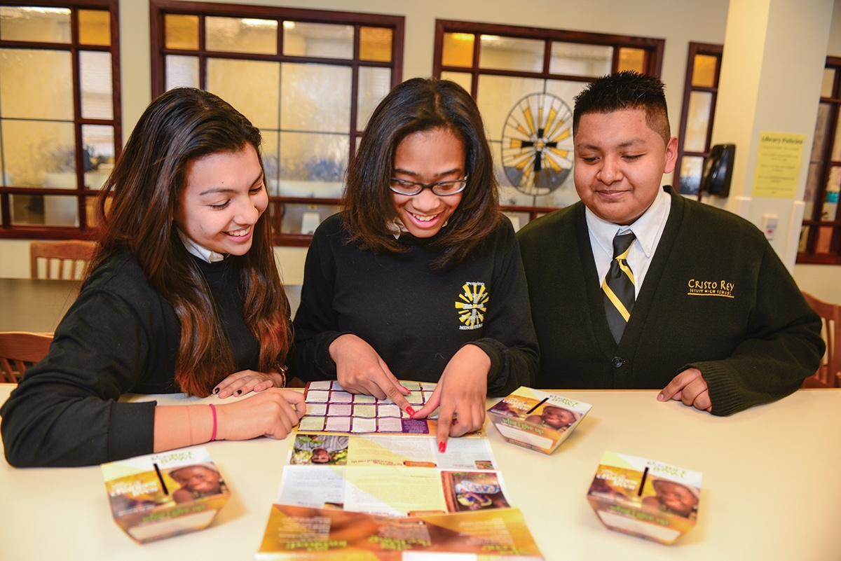 Students at Cristo Rey Jesuit High School in Baltimore participate in CRS Rice Bowl, a Lenten program of prayer, fasting and almsgiving that engages Catholics on the issues of global hunger and food security. Photo by Philip Laubner/CRS